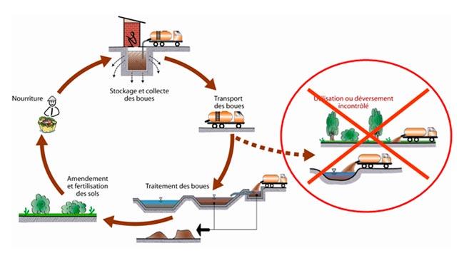 cycle de fonctionnement lié aux latrines